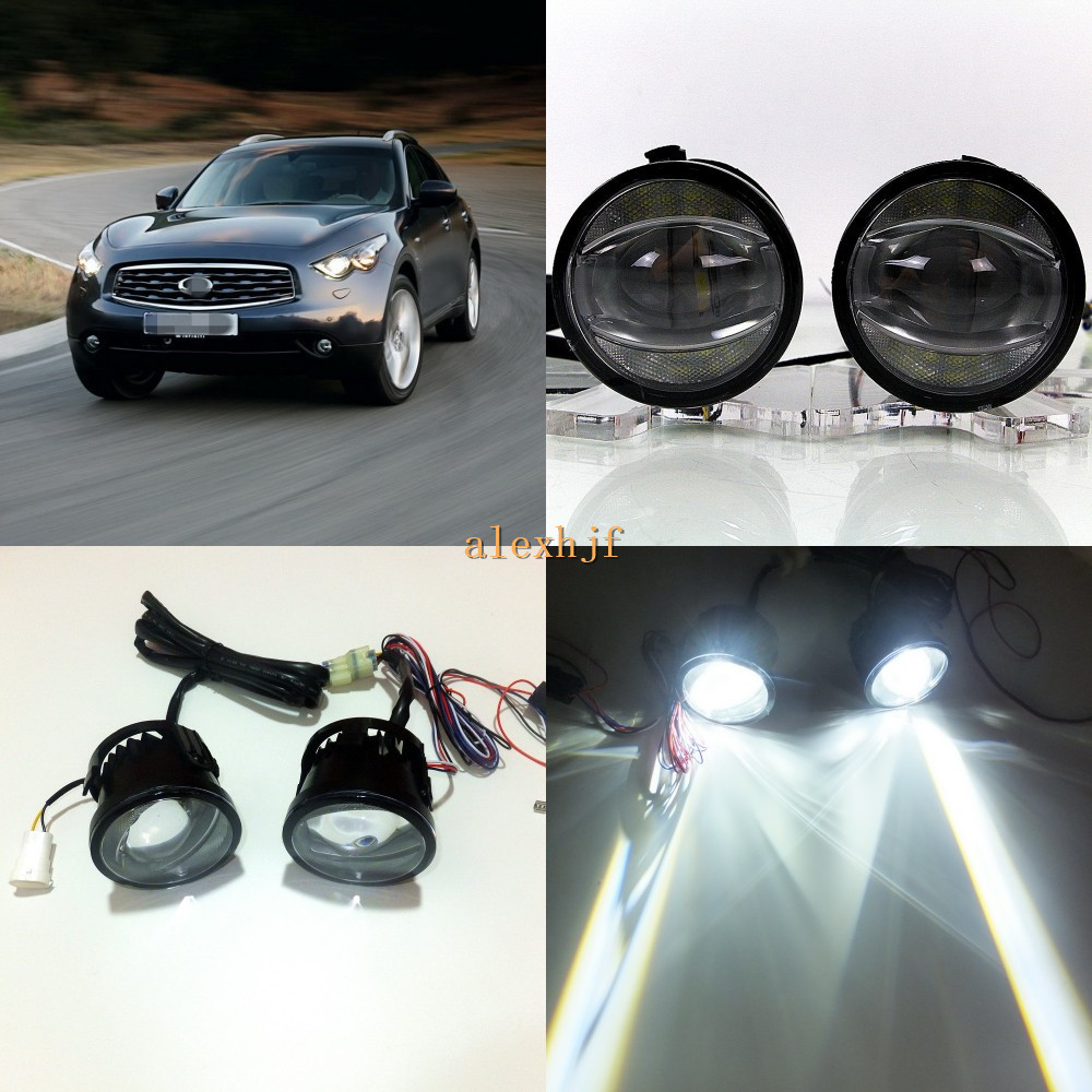 July King 1600LM 24W 6000K LED Light Guide Q5 Lens Fog Lamp +1000LM 14W Day Running Lights DRL Case for Infiniti FX35 FX45 F50 for infiniti fx35 37 45 50 ex35 37 h11 wiring harness sockets wire connector switch 2 fog lights drl front bumper led lamp