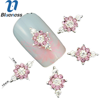 10 Pcs/Lot 3D Pink Jewelry Nail Art Glitter Silver Alloy Manicure Supplies Crystal Rhinestones For Decorations TN1337