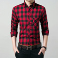 2016 Hot New Men Plaid Long-sleeved Casual Shirts Cotton Slim Fit Brand Formal Business Fashion Dress Warm Spring Autumn Shirts