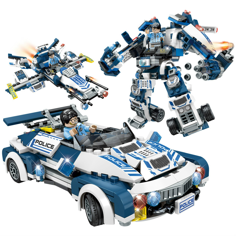 Super Police Robot Car Aircraft Figures Weapon Building Blocks Sembo ToysCompatible Lepins City Enlighten Bricks Children Toys hot city series aviation private aircraft lepins building block crew passenger figures airplane cars bricks toys for kids gifts