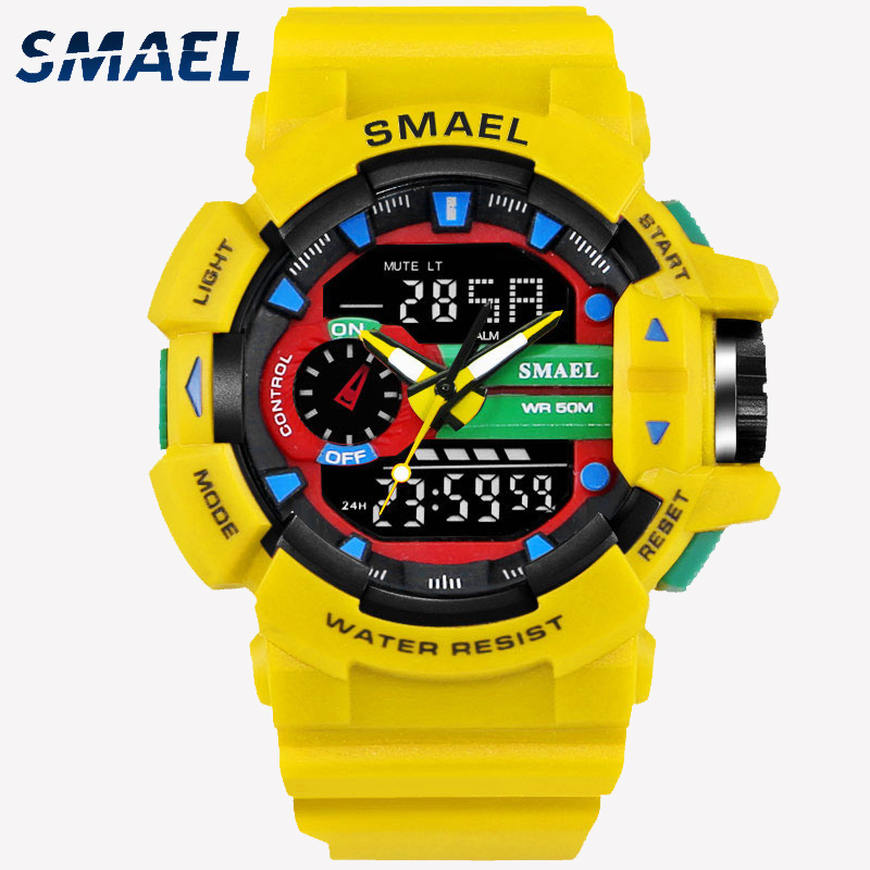 LED Quartz Wristwatches Luxury SMAEL Cool Men Watch Big Watches Digital Clock Military Army1436 Waterproof Sport Watches For Men