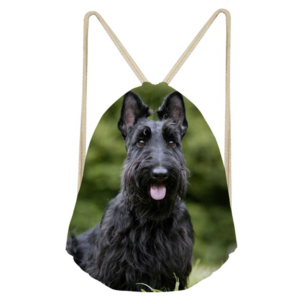 ThiKin Cute Puppies Scottish Terrier Print Fitness Drawstring Bag 3D Animal Dog Design Travel Softback Backpack