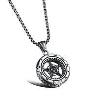 2017 die Rom Rad Mann Herrisch Anhänger Kette Perle Quadrat Stahl Persönlichkeit Halskette # SN0022560