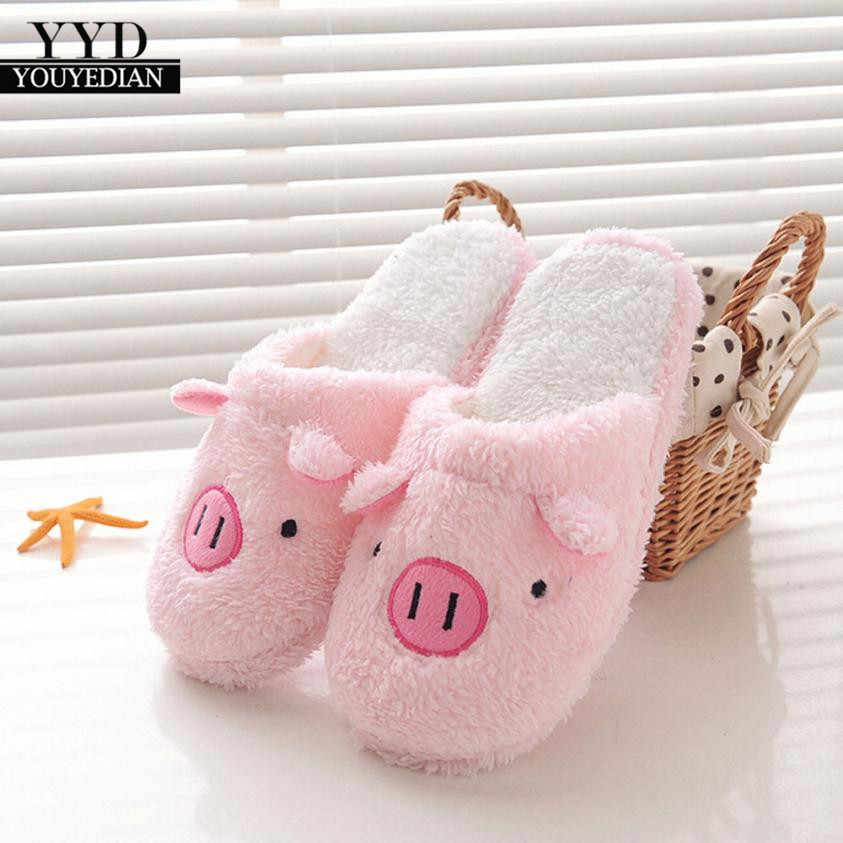 YOUYEDIAN2018 New Lovely Women Flip Flop Cute Pig Shape Home Floor Soft Stripe Slippers Female Shoes Girls Winter Spring Warm