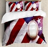 Американский флаг декора Набор пододеяльников для пуховых одеял комплект Бейсбол Футбол спортивную тематику активности для отдыха Постел