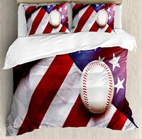American Flag Decor Duvet Cover Set Baseball Soccer Sports Theme Activity Leisure Bedding Set