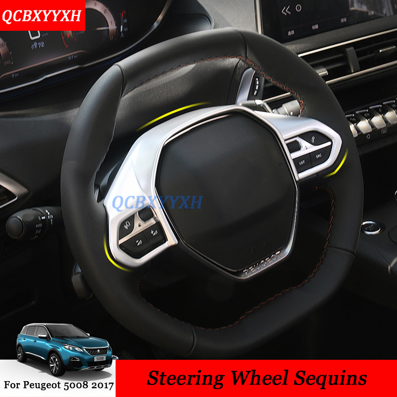 Car Styling ABS Chrome Interior Steering Wheel Decorative Covers Trim Stickers Decoration Accessories For Peugeot 5008 2017 LHD