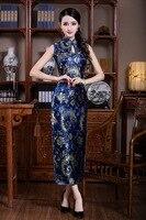 Hải quân Xanh Không Tay Trung Quốc Truyền Thống của Phụ Nữ Satin Qipao Cổ Điển Cô Dâu đám cưới Sườn Xám Sexy Dài Slim Dress Sml XL XXL