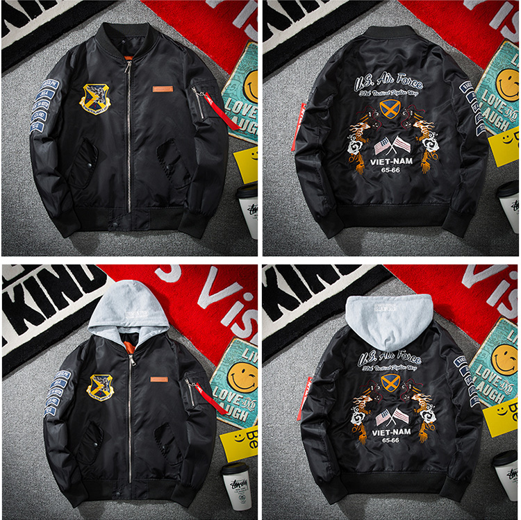 Topdudes.com - Embroidery Dragon Hooded Plus Size  Bomber Jacket