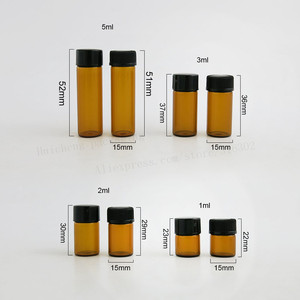 Image 4 - 100  X 1ml 2ml 3ml 5ml Mini Amber Glass Essential Oil Bottle Orifice Reducer cap  Small Brown Glass Vials with hole insert