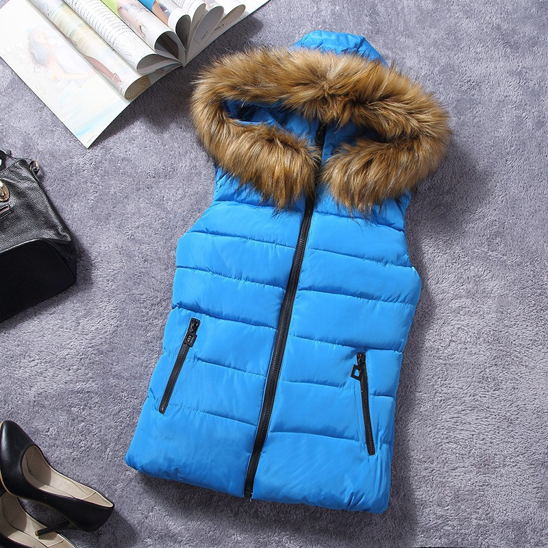 down vest with fur 0W0125 blue