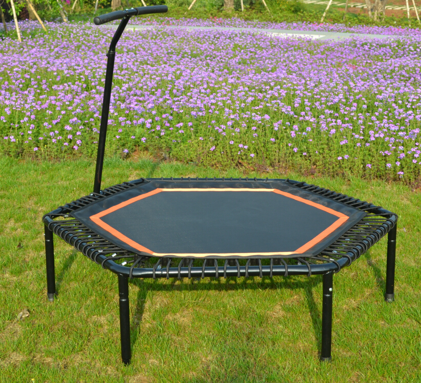 Hexagonal Jumping fitness trampoline with handrail hexagonal fitness bungee trampoline with handrail
