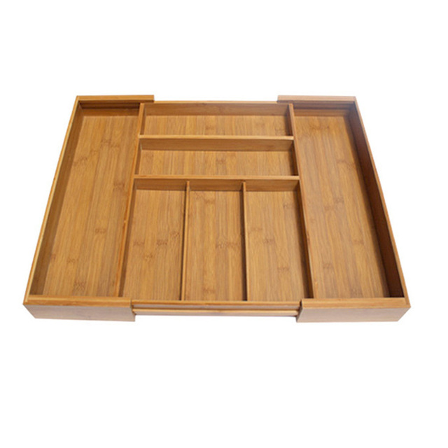 Retractable Bambu Penyimpanan Box Laci Organizer Alat Laci Sendok Garpu Pisau Penyimpanan Pemegang Dapur Aksesoris