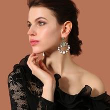 Wholesale Big Earrings New Design Synthetic Stone Simulated Pearls Bohemian Earrings Women Ethnic Jewelry