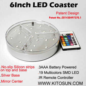 Kitosun Patent Design 3AA Battery Operated 6inch LED Light Stand Base for Crystal Glass Art  19LEDs RGB Color-changing Lights