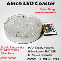 Kitosun Patent Design 3AA Battery Operated 6inch LED Light Stand Base For Crystal Glass Art 19LEDs