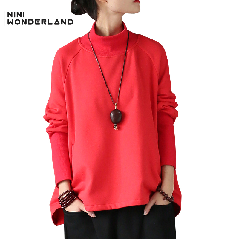 NINI WONDERLAND Women spring autumn long-sleeved cotton fashion tees Turtleneck large bottom loose casual tops Clothes red,black