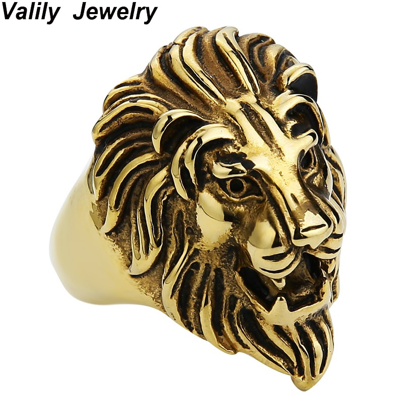 EdgLifU Män Punk Lion Head King face Ring Rostfritt stål Punk Guld Svart Djurringar för män Vintage fingerringar