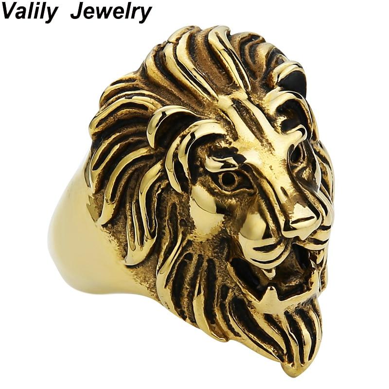 EdgLifU moška punk lev glava kralj obraz prstan iz nerjavečega jekla punk zlato črna živalska prstana za moške Vintage prstani prstani
