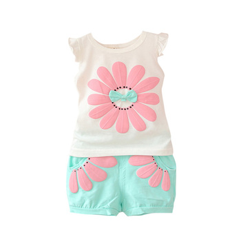 Toddler Baby Girls Fashion Summer Clothing Set Sunflower Girls Clothes Sets Kids Casual Sport Suit Set Hot Sale conjuntos casuales para niñas