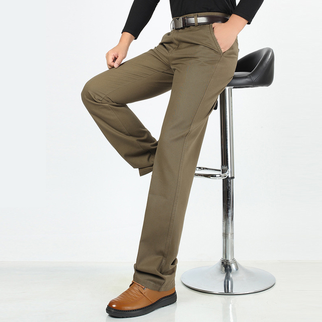 Outono inverno grosso calças meados cintura solta calças de algodão casuais dos homens de negócios roupas pai calças retas terno homme