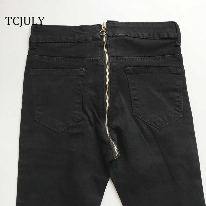 Tcjuly Nieuwe Collectie Jeans Met Rits Achter Katoen Toevallige Zwarte Jeans Vrouw Streetwear Skinny Stretch Push Up Denim Potlood Broek