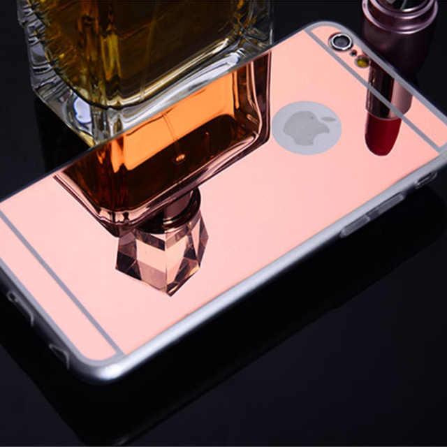 هاتف محمول مرآة حقيبة لهاتف أي فون 6 s 6S X 10 7 Plus XR XS Max 5 5s 5SE 6Plus 6SPlus 7 Plus لينة سيليكون رقيقة جدا غطاء فضي
