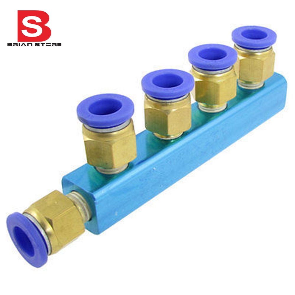 8mm Pneumatic Air Hose 5 Ways Push in to Connect Quick Coupler Fitting 2 pcs 8mm tube pneumatic hose air fitting tee quick connector coupler free shipping