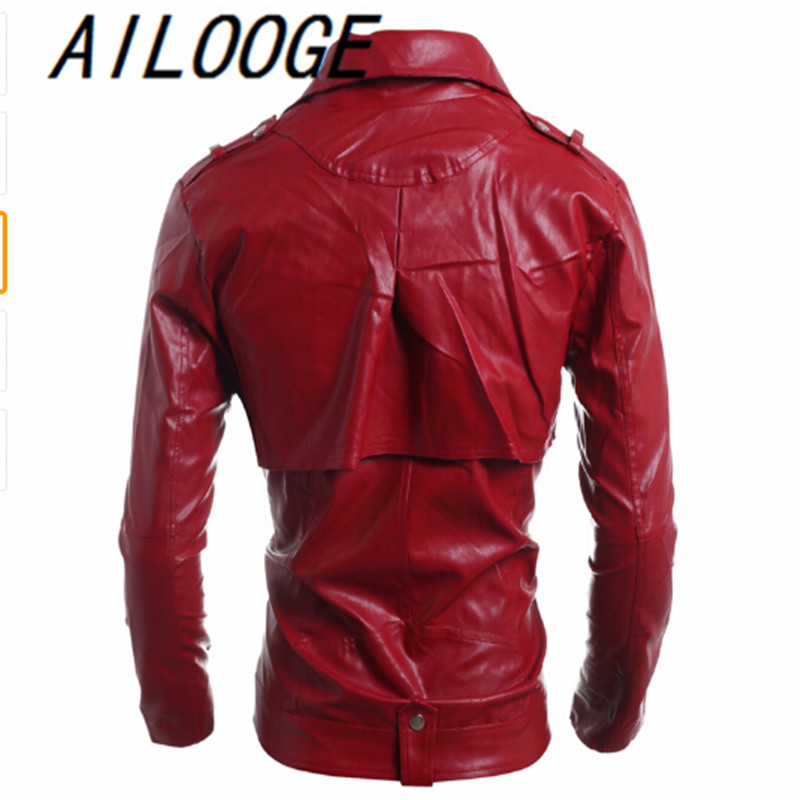 00b9d2a2338 2016 Brand Men's Popular Handsome PU Leather Jacket Punk New Red Leather  Jackets Zipper Men Chupas De Cuero Hombre-in Faux Leather Coats from Men's  Clothing ...