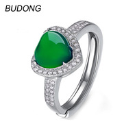 BUDONG Heart Love Halo Green Natural Chalcedony Band Fine Jewelry For Women 925 Sterling Silver Engagement