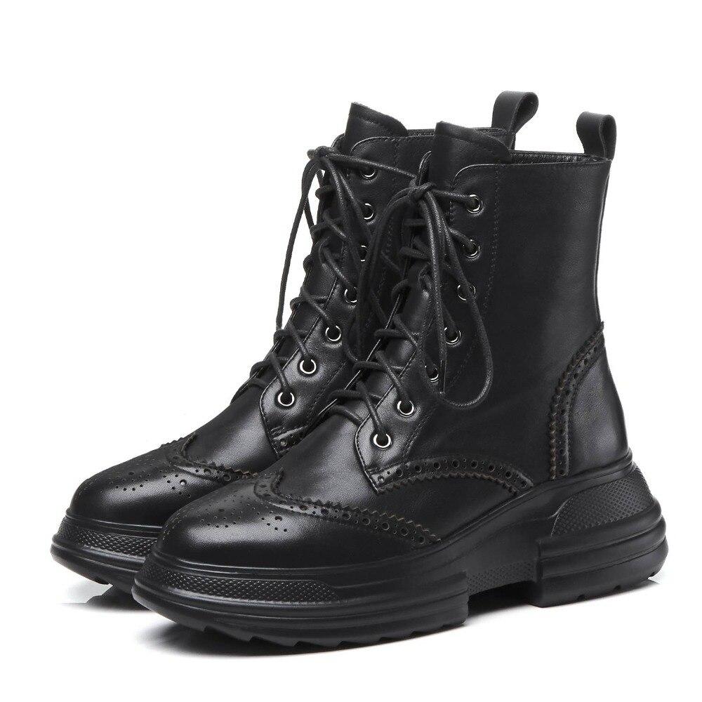 Mode Chaussures noir rouge Dentelle Haute Étanche En Cuir L17 2018 Fond Bullock Véritable Style De Rond Moto Bottes Up Beige Rétro Bout Cales w0OPkn8