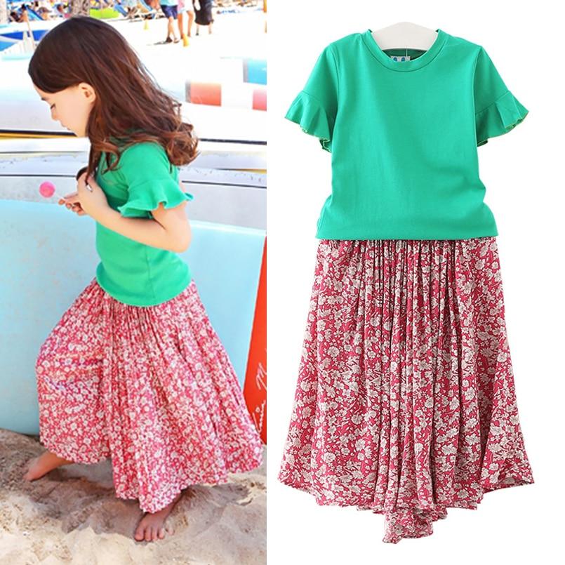 Children Girls Clothing Set Cotton Floral Print Short Sleeve Girls Suit Summer Top & Wide Leg Pants Children Clothes 4 5 6 7 14T