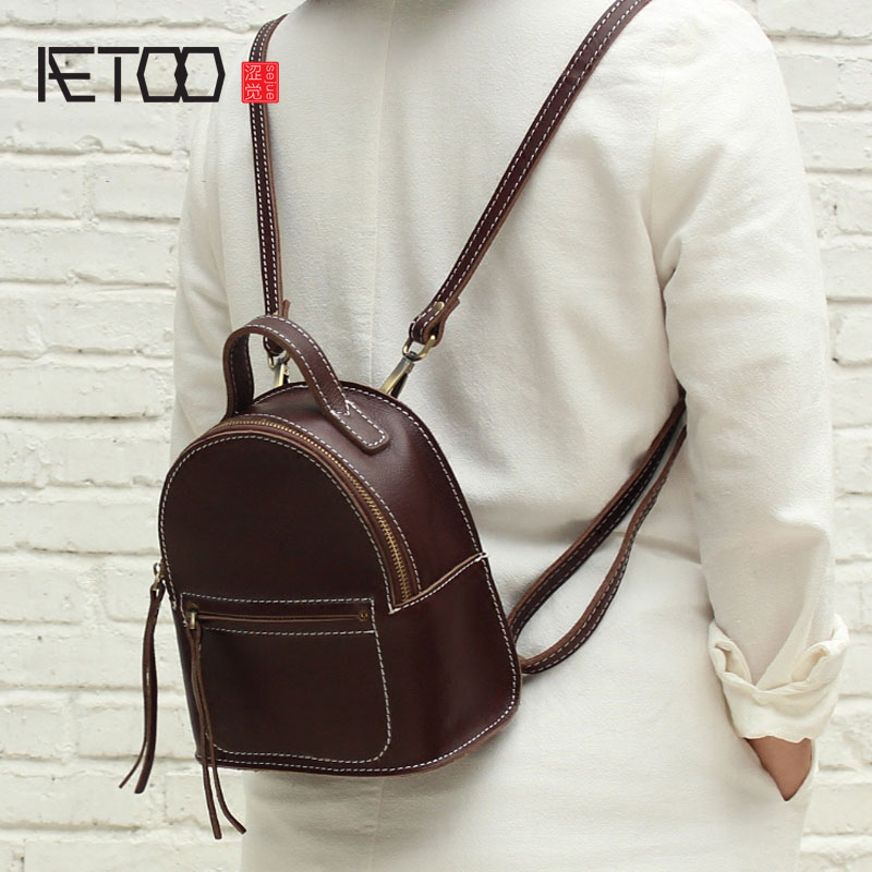 AETOO Mini handmade leather shoulder bag female Korean version of the first layer of leather port wind retro retro bag soft leat aetoo first layer of leather shoulder bag female leather 2017 new wild korean version of the tide leisure mini college wind back