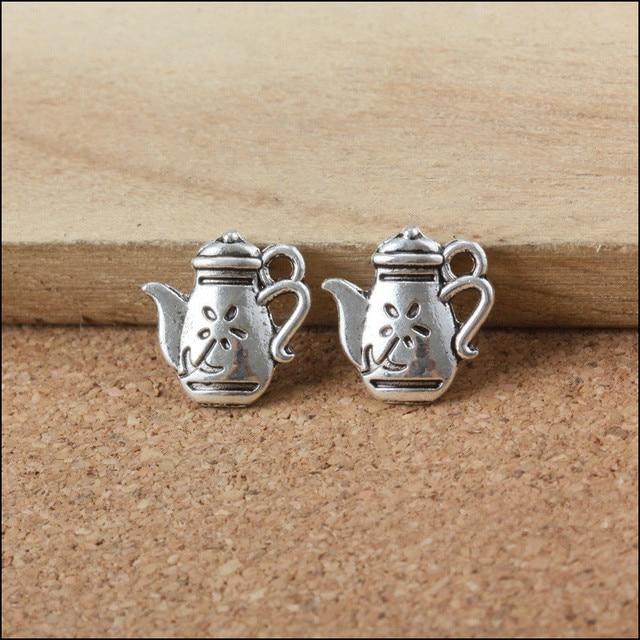 Wholesale 50Pcs Teapot Shape DIy Jewelry Charms Vintage Silver Tone Alloy Necklace Pendant Bracelet Keyring Charm Pendant