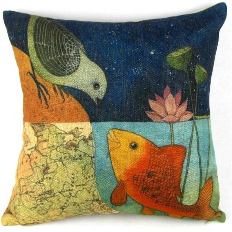 Quality Bird Kiss Fish print pillow case slip animal vintage cushion case square cover pillow retro 45cm on sale