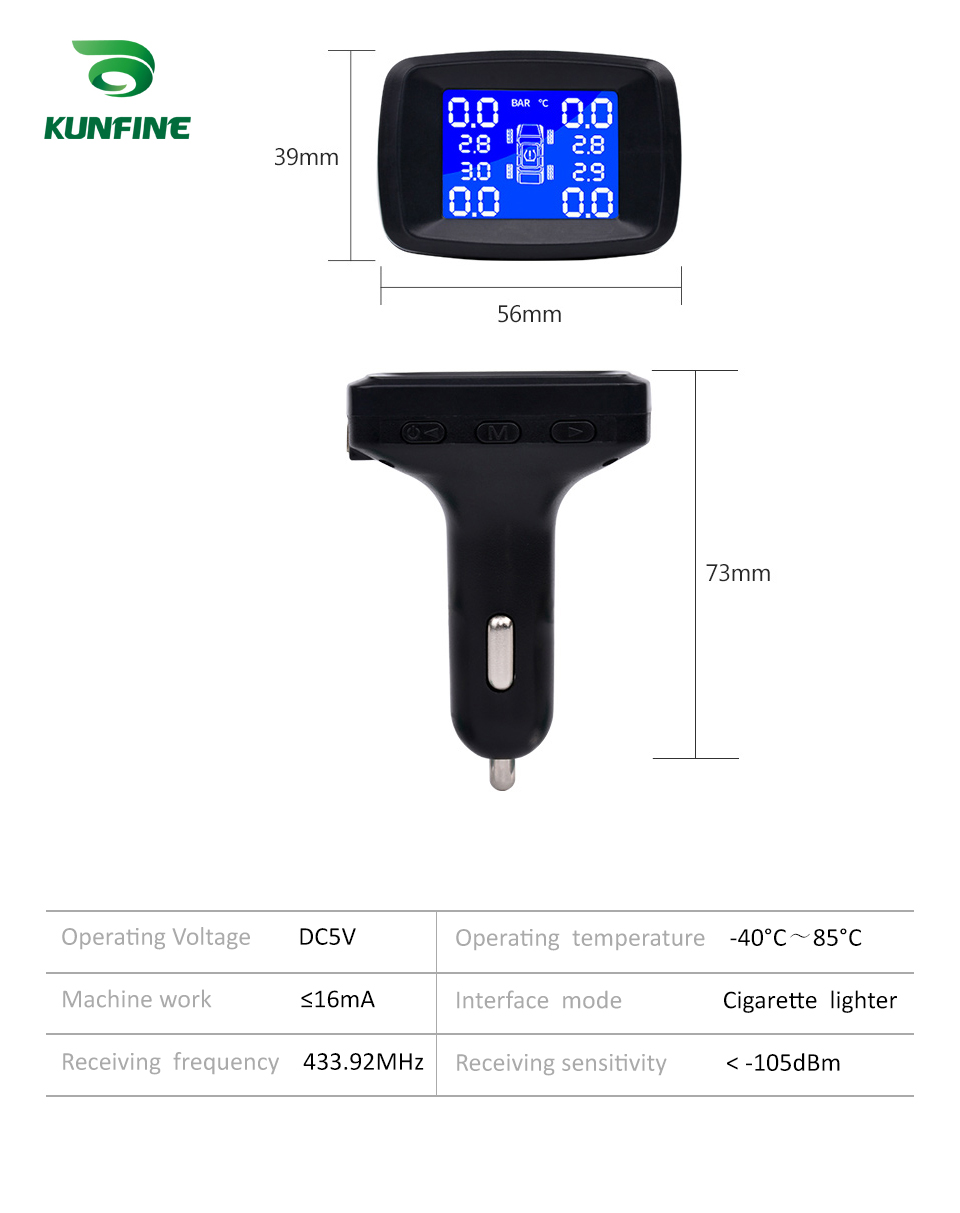 Smart Car TPMS Tyre Pressure Monitoring System Cigarette Lighter Digital LCD Display Auto Security Alarm Systems With 4 Sensors C (4)