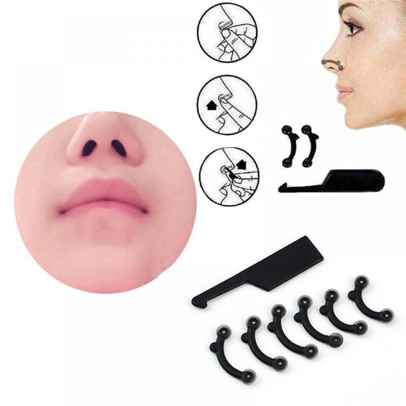 6 Teile/satz Schönheit Nase Bis Lifting Brücke Shaper Massage Werkzeug, Keine Schmerzen Nase Gestaltung Clip Clipper Frauen Mädchen Massager 3 größe