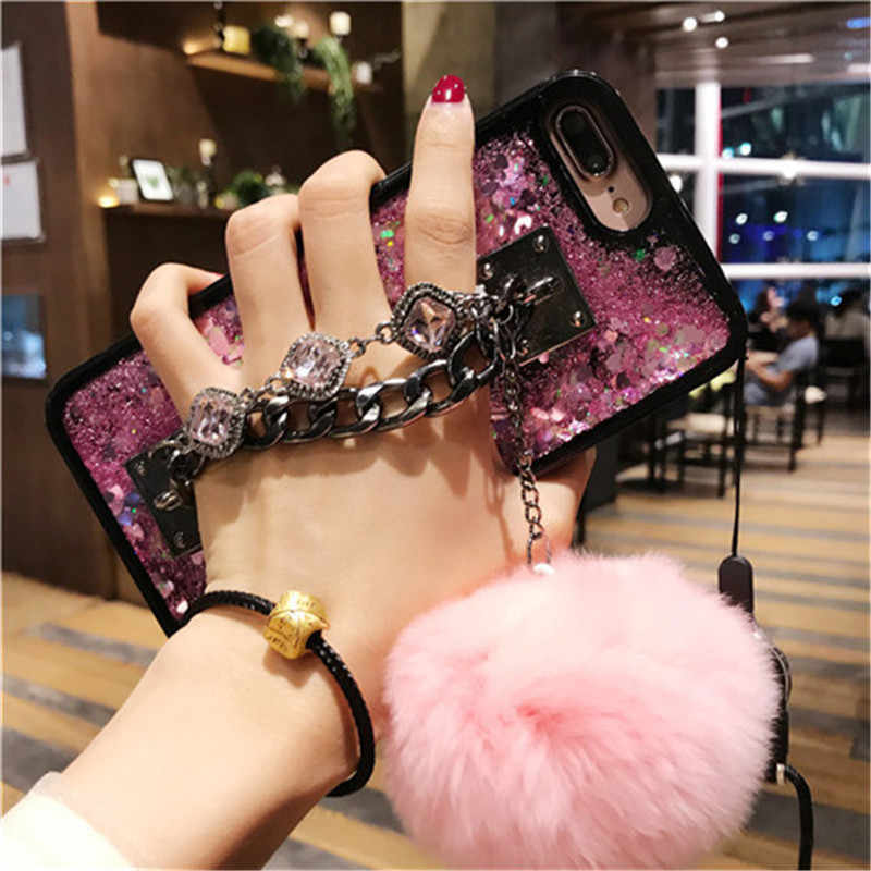 For Samsung Galaxy s6 s7 s8 s9 edge plus note 5 8 Luxury quicksand Chain Tassel fox puff pompoms fur ball soft mirror case