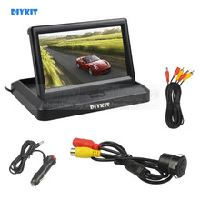 DIYKIT 5inch Foldable TFT LCD Car Monitor HD Rear View Reverse Backup Car Camera Parking System Car Charger