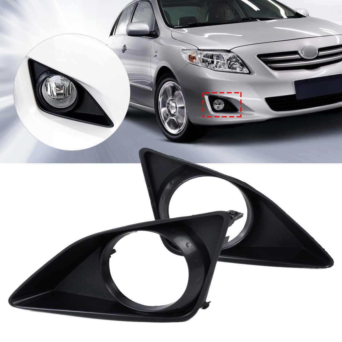 beler 2pcs New Black Front Right + Left Fog Light Lamp Grille Cover Foglight Bezel for Toyota Corolla 2007 2008 2009 2010