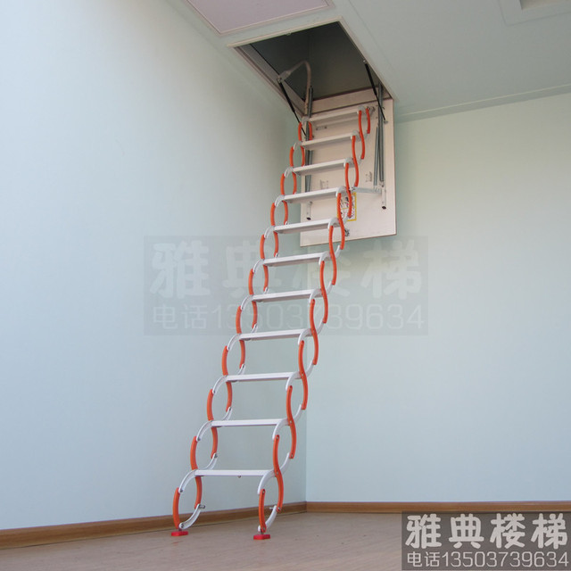 Attic Stairs Steel Telescopic Ladder Household Indoor Buildings Duplex Top  Small Folding Hidden Staircase Handrail