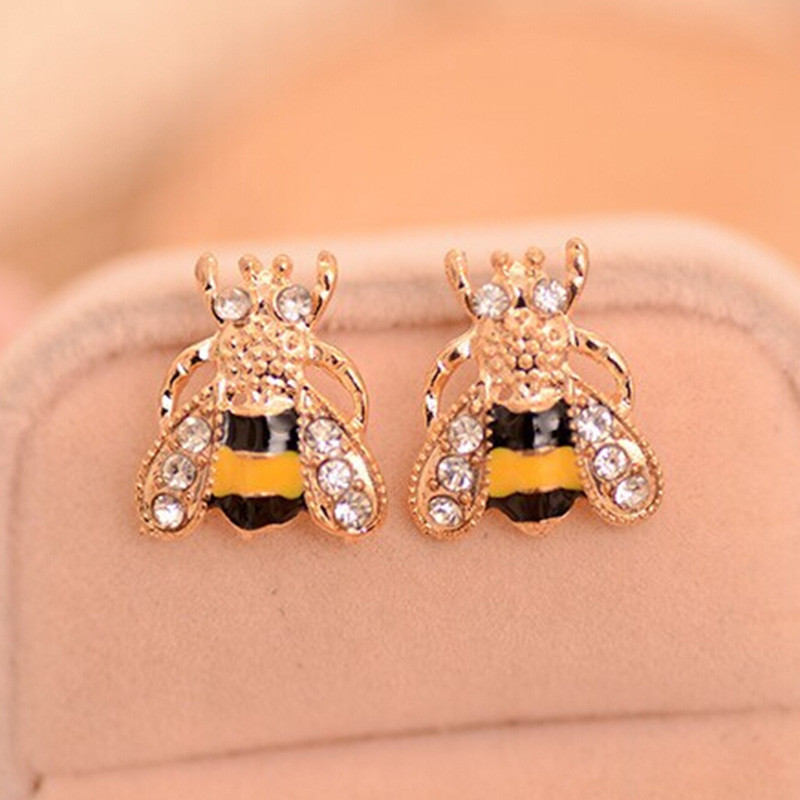 Fashion Cute Women Lovely Popular Golden Small Bee Crystal Insect Stud Earrings Jewelry Gift
