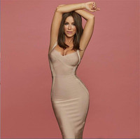 New Arrival Apricot Strap Knee Length Rayon Sexy Women Bandage Dress Evening Party Dress
