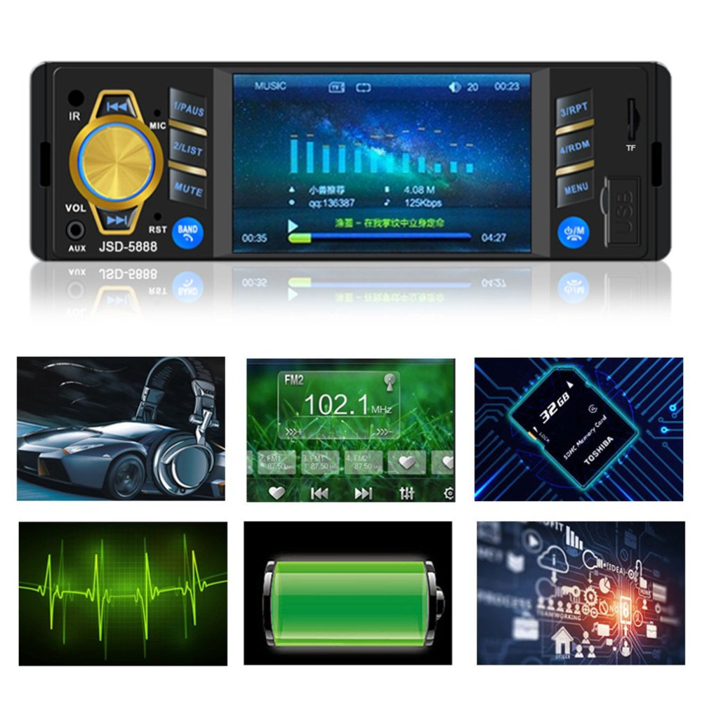 4.3 Inch 5888 Car Stereo MP3 MP4 MP5 Player with Bluetooth FM Radio Car Audio player For USB AUX Input Wireless Remote Control