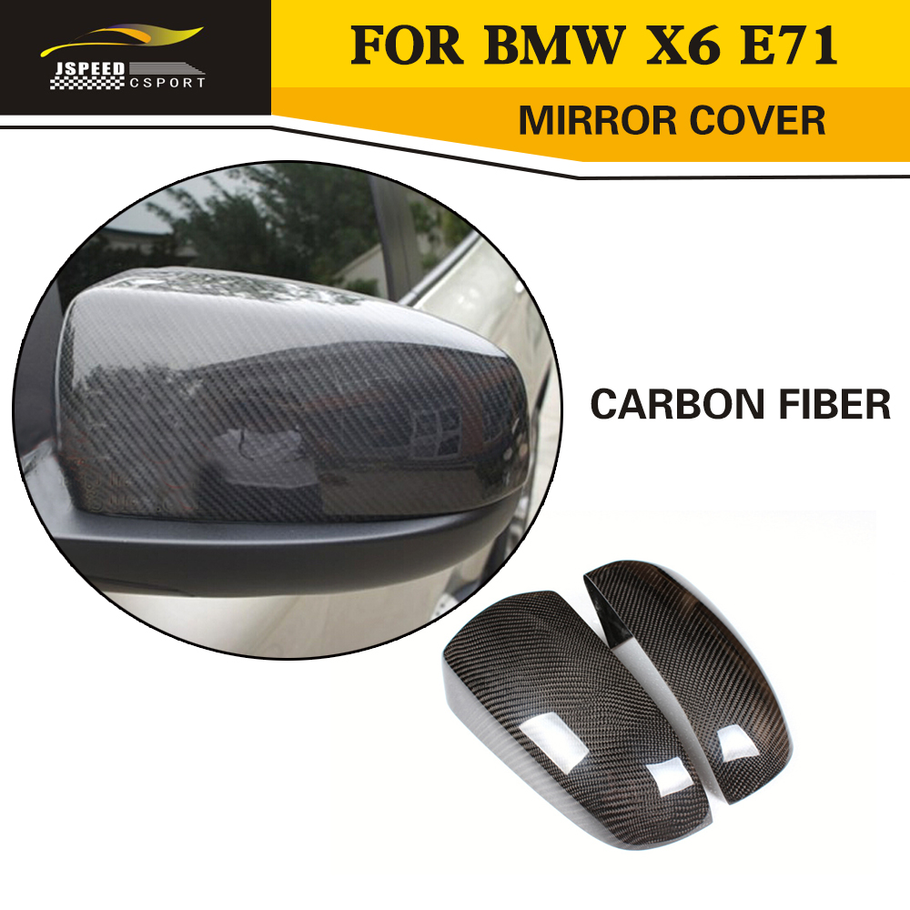 Car Styling Carbon Fiber Rear View Mirror Covers For BMW X6 E71 2008-2013 carbon fiber car rear bumper extension lip spoiler diffuser for bmw x6 e71 e72 2008 2014 xdrive 35i 50i black frp