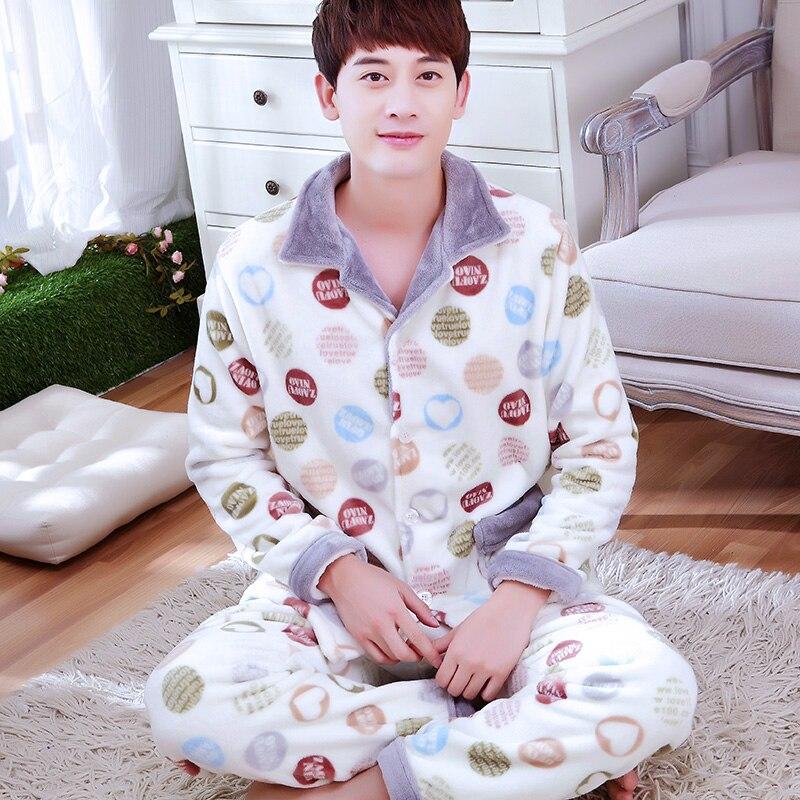 Mens Winter Pajama Sets Comfortable Flannel Sleepwear Nightwear Homewear Pajamas