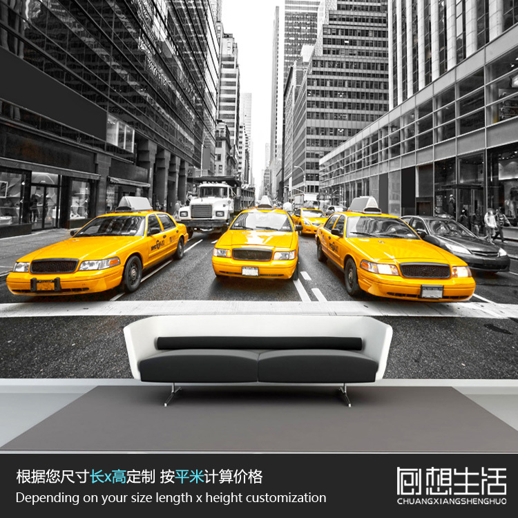 New York Yellow Taxi 3d Wallpaper The Background Wall Paper Of Black And  White Living Room Bedroom Mural Wallpaper In Wallpapers From Home  Improvement On ... Part 92