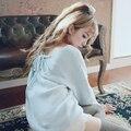 Doce princesa lolita rosa e azul camisola BOBON21 bandage sexy sentido menina V-gola Retro camisola simples estilo Estudante T1422