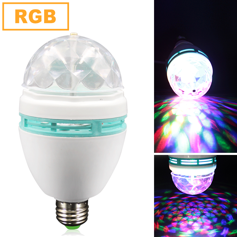 E27 3W Magic LED Crystal Light Ball Rotate RGB Party Disco Lamp KTV Stage Lighting Color Changing for Xmas Wedding Effect led crystal stage light for disco party club bar dj ball bulb multi changing color rose lantern