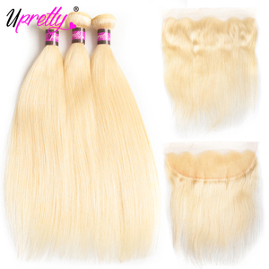 Upretty 1B 613 Blonde Bundles With Frontal Closure HD Transparent Lace Frontal With Bundles Brazilian Human Hair With Frontal